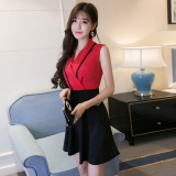 Best Rated Korean Style Summer New Style V Neck Dress Red