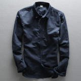 New Men S Business Cotton Linen Long Sleeve Shirt