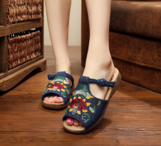 Vintage Spring Summer New Embroidery Flower Ladies Shoes Denim Blue Denim Blue On China