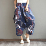 Review Stitching Linen Spring And Summer New Style Pantyhose Pants Geometric Figure Geometric Figure Oem