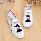 Lowest Price Korean Style Spring Flat Heel Flat Cloth Shoes Graffiti Canvas Shoes White Violet G*Rl