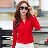 Women S V Neck Chiffon Long Sleeve Blouse Deal