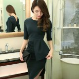 Debutante Korean Style Elegant Slim Fit Half Sleeved Sheath Dress Blackish Green In Stock