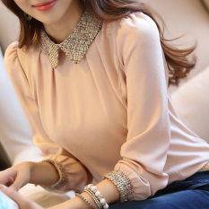 Sale Women S Korean Style Long Sleeve Blouse Black Burgundy Apricot Beige Beige Oem Wholesaler