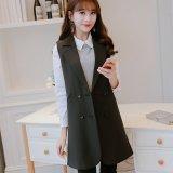 Calan Diana Women S Korean Style Sleeveless Blazer Jacket Black Black Black Coupon