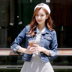 Women S Korean Style Slim Fit Denim Cropped Jacket Color Varies Dark Blue In Stock