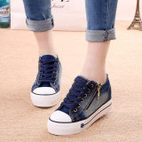 Cheaper Korean Style Female Thick Bottomed Muffin Pumps Fashion Canvas Shoes Dark Blue