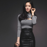 Korean Style Spring Porous Slim Fit Top T Shirt Shirt Gray Lowest Price