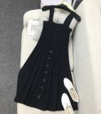 Sale Breasted Bra Straps Knit Dress Skirt Atmospheric Black Online On China