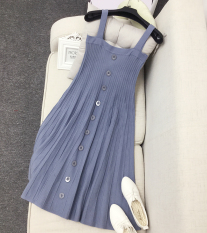 Lowest Price Breasted Bra Straps Knit Dress Skirt Sunny Blue