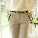Review Korean Style Slim Fit Slimming Skinny Women S Pants Women S Pants Light Beige Light Beige On China