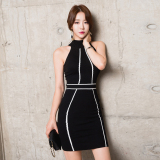 Women S Korean Style Slim Fit Sleeveless Knit Splice Dress On China