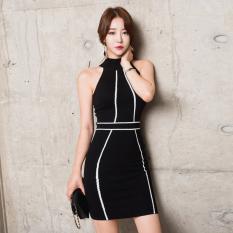 Women S Korean Style Slim Fit Sleeveless Knit Splice Dress Compare Prices