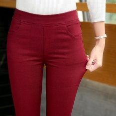 Compare Price Women S Slim Fit Skinny Pants Color Varies Red Wine On China
