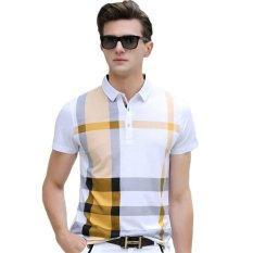 Who Sells 2017 Summer Men Polo Shirts Plaid Patchwork Short Sleeve Cool Mercerized Cotton Slim Fit Casual Business Men Shirts Yellow The Cheapest