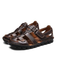 Cheap 2017 Summer Mens Leather Sandals Gladiator Casual Beach Slide Shoes Open Toe Breathable Holes Intl Online