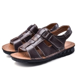 Casual Leather Male Non Slip Sandals Baotou Sandals Brown Open Toe Paragraph Oem Cheap On China