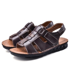 Price Comparisons Of Casual Leather Male Non Slip Sandals Baotou Sandals Brown Open Toe Paragraph