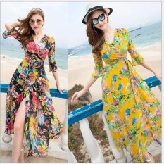 2017 Summer New Fashion V Collar Chiffon Print Dress Bohemian Seaside Beach Skirt Dress Intl Discount Code