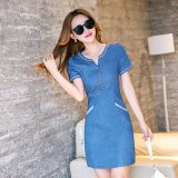 Women S Korean Style Slim Fit Denim Dress Blue Best Buy