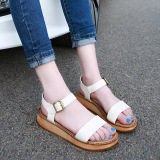 Leather Ball Flat Thick Bottomed Students Women S Shoes Women S Sandals Shallow Brown Sale