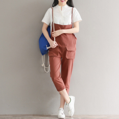 Latest Women S Cotton Linen Strapped Cropped Pants Black Green Rusty Red Rust Red Rust Red