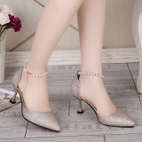 Buy 2017 Summer New Style Cat With Shoes Korean Style Wedding Shoes Pointed Fine With High Heeled Sequined Sandals Women In Shoes With A Single 196 Gold Oem Original