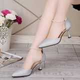 Cheaper 2017 Summer New Style Cat With Shoes Korean Style Wedding Shoes Pointed Fine With High Heeled Sequined Sandals Women In Shoes With A Single 196 Silver