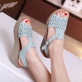 Buy Korean Style Leather Thick Bottomed Platform Sandals Sky Blue Color On China