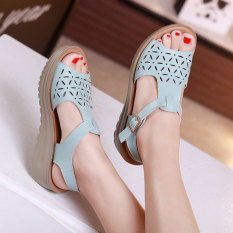 Korean Style Leather Thick Bottomed Platform Sandals Sky Blue Color Oem Cheap On China