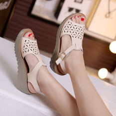 Best Buy Korean Style Leather Thick Bottomed Platform Sandals Off White Color