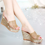Buy Mesh Waterproof Platform Open Toed High Heeled Women S Slippers Sandals Golden China