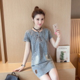 Discount Korean Style Washed Elegant Medium Length Short Sleeved Cowboy Dress China