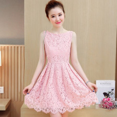 Deals For Debutante Korean Style Plus Velvet Spring New Style Dress Pink Color