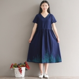 Discount Women S V Neck Midi Embroidered Dress White Green Blue Blue Blue Oem On China