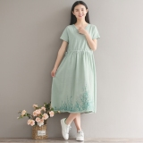 Women S V Neck Midi Embroidered Dress White Green Blue Green Green Lowest Price