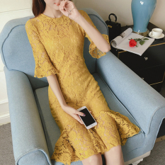 Sale Summer New Style Elegant Slim Fit Half Sleeved Yellow On China