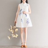 Buy Literature And Art Cotton And Linen The New Blue And White Dress Cheap Singapore