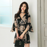 Women S Revealing V Neck Printed Flare Sleeve Lace Up Dress Online