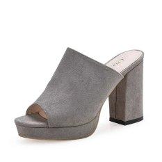 The Cheapest Women S Velvet Thick Heel Slippers Black Gray Pink Gray Gray Online
