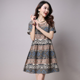 National Style Cotton Linen Plus Sized Mid Length Printed Dress Women S Skirt Blue Blue Lower Price