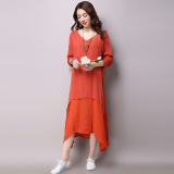 Promo Women S Swing Cotton Linen Long Sleeve Maxi Dress