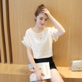 How To Get Sweet New Style Frilled Short Sleeved Top Chiffon Bottoming Shirt