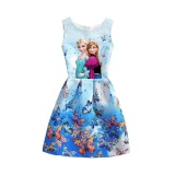 2017 Summer Style Girls Elsa Anna Princess Dresses G*rl Butterfly Printed Sleeveless Formal G*rl Dresses Teenagers Party Dress Intl Cheap