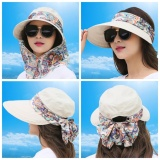2017 Summer Sun Hat Outdoor Large Covered Face Uv Protection Sun Hat Sun Hat Lady Hat Can Be Folded(Beige Intl Best Price