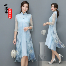 Chinese Style Vintage Improved Summer Mid Length Cheongsam Free Shipping