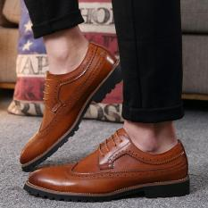 Sale 2017 Vintage Leather Men Dress Shoes Business Formal Brogue Pointed Toe Carved Oxfords Wedding Shoes Intl On China