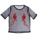 Price Comparison For 2017 Women Mesh Embroidery Floral See Through Crop Top T Shirt Blouse S Intl