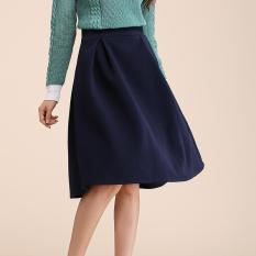 2017 Women Mid Waist Pleated Skirt Zip Vintage Plain Double Knit Slim Fit Midi Ladies Skirts Blue Intl For Sale
