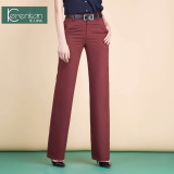 Discounted New Style High Waisted Plus Sized Straight Pants Wide Leg Pants Red